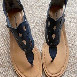 Black cut out sandals